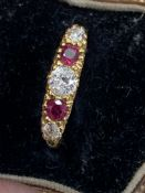Vintage two stone ruby and three stone diamond ring 18 carat gold