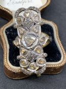 Gold and silver ring set with rose diamonds approximately 10 g