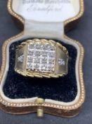 10ct gold diamond set Men's ring