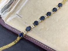Fine 18 carat gold sapphire and diamond set bracelet 13.4 g G colour diamonds VS