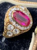 Vintage 18 carat gold ring set with ruby type stone & 1.3 carats of old mine cut diamonds