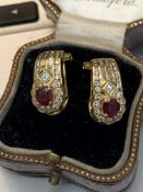 18 carat gold 4.00ct ruby and diamond earrings approximately 6.6 g
