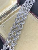 18 carat white gold to row baguette diamond set bracelet approximately eight carats of diamonds