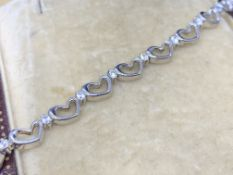 Heart shaped diamond set bracelet 925 silver approximately 0.8 carats of diamonds