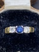 Sapphire and diamond Ring set in yellow metal tested as 18 carat gold
