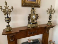 Franz Hermle Imperial ornate clock with matching candelabras