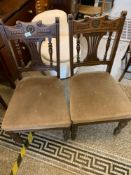 Pair of Edwardian upholstered dining chairs