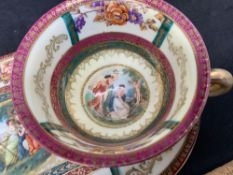 Decorated cup and matching plate Marked 1861 E.S