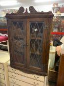 Modern old Charm dark wood corner cupboard with leaded glass glazing