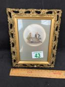 Small framed scene of pirate and gentlemen drinking