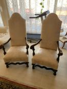 Pair of quality high-back Carver armchairs recently re-covered