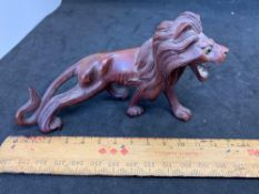 Carved Lion with repaired leg/tail