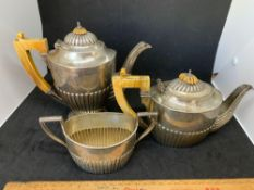 Continental silver hallmarked 800 coffee pot teapot and sugar pot approximately just under 1 kg