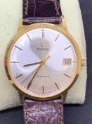 18ct Gold Omega Geneve 35 mm date watch