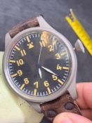 62 mm automatic military style watch on leather type strap