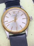 Vintage Rolex Oyster perpetual mid-size stainless steel and gold watch - Automatic