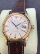 Rolex OysterDate precision 36 mm gents watch on leather strap Gold case and steel case back