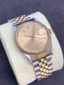 Rolex stainless steel and gold 36 mm oyster perpetual date Gents watch Jubilee bracelet