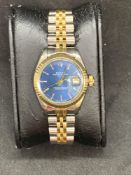 Rolex date just stainless steel and gold ladies watch approximately 26 mm