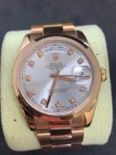Solid 18ct rose gold watch Marked Rolex fitted with genuine Rolex movement