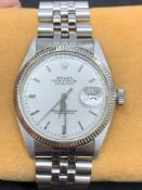 Vintage 1961 Rolex Datejust Stainless Steel & White Gold Watch Silver dial 36mm