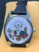 Unusual Vintage S/Steel Watch - Windmill & Church Scene 36mm