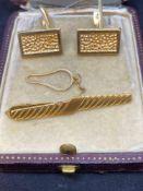 14k Gold Cufflinks & Tie Clip with safety chain - 12.5g