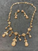 Vintage 6.00ct Approx Rose Cut Diamond Set Necklace and Matching Earrings 9ct Gold - 41 Grams