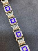 Vintage 18ct Gold Blue Enamel & Diamond set Bracelet - 30 Grams