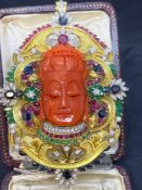 Fine 17.50ct Precious Gem Set Budda 14ct Gold Sapphires and Diamonds, Emeralds & Rubies - 76.3 Grams