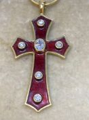 """18ct Gold Diamond & Enamel Cross with 14ct Gold 22"""" Snake Chain - 17.3 Grams"""