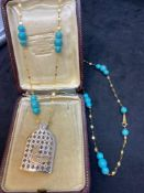 """18k Gold & Turquoise Necklace with Bird Pendant - 26"""" Chain - 20 Grams"""