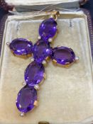 Stunning French Rose 60.00ct Amethyst Cross 26.1 Grams - Tested as 18ct Gold