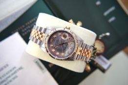 (Full Set) Mens Rolex Oyster Datejust Stainless Steel/ 18ct Yellow Gold - Black Pearl Diamond Dial
