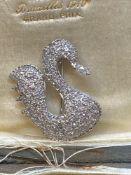 Fine 18ct White Gold Swan 2.50ct Diamond Set Pendant - 6.3 Grams