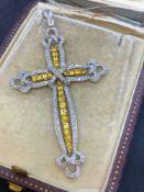 18ct White Gold Yellow Sapphire & Diamond Cross 1.27ct of Diamonds - 1.81ct Yellow Sapphires