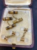 Two Pairs of Vintage Cufflinks 9ct gold & Crystal - 19g