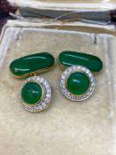 Fine 18ct gold Jade & Diamond cuff links - 14.5 Grams - 1.2ct Diamonds 15ct Jade