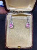 14ct White Gold 6.00ct Pink Topaz & 1.00ct Diamond Drop Earrings - 6 Grams