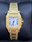 18ct GOLD DIAMOND SET CARTIER SANTOS LADIES WATCH 94 GRAMS