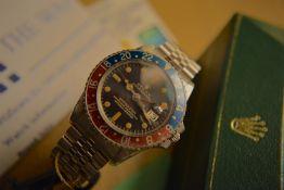 *Vintage* VERY RARE 1968 Rolex GMT Master Pepsi Ref. 1675 'Red Back, Fat Serif'