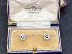ANTIQUE CUFFLINKS? Diamond Set 18ct Gold & Platinum in Old Box Inc