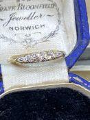 ANTIQUE 18ct GOLD 5 STONE DIAMOND RING