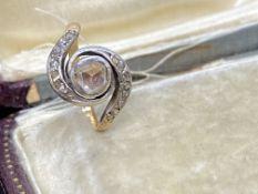 ANTIQUE 14ct GOLD DIAMOND SET RING