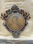 ANTIQUE FRENCH BROOCH SET WITH RUBIES, SAPPHIRES & DIAMONDS - TESTED AS 20ct & 14ct GOLD - 13 GRAMS