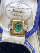 ANTIQUE FRENCH EMERALD & DIAMOND RING - TESTED AS 18ct GOLD