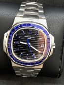 18ct WHITE GOLD WATCH MARKED PATEK PHILIPPE SET WITH BLUE SAPPHIRES