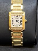 18ct GOLD CARTIER TANK FRANCAISE LADIES WATCH 2385
