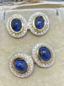 18ct GOLD 15.00ct SAPPHIRE & 2.50ct DIAMOND SET CUFFLINKS - 20 GRAMS