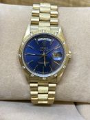 GENTS 18ct GOLD ROLEX DAY DATE WATCH SET WITH DIAMOND - BOXED